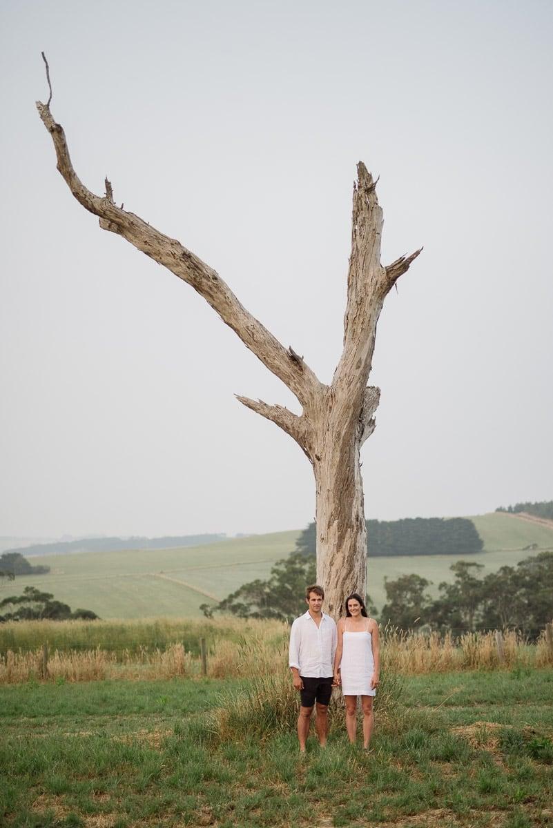 Couple portrait with dead tree near Scotts Creek