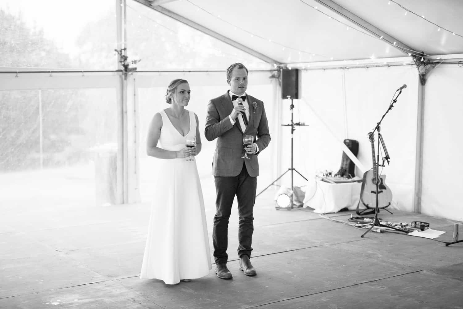 Bride and Groom give speeches at the Elliot Wedding