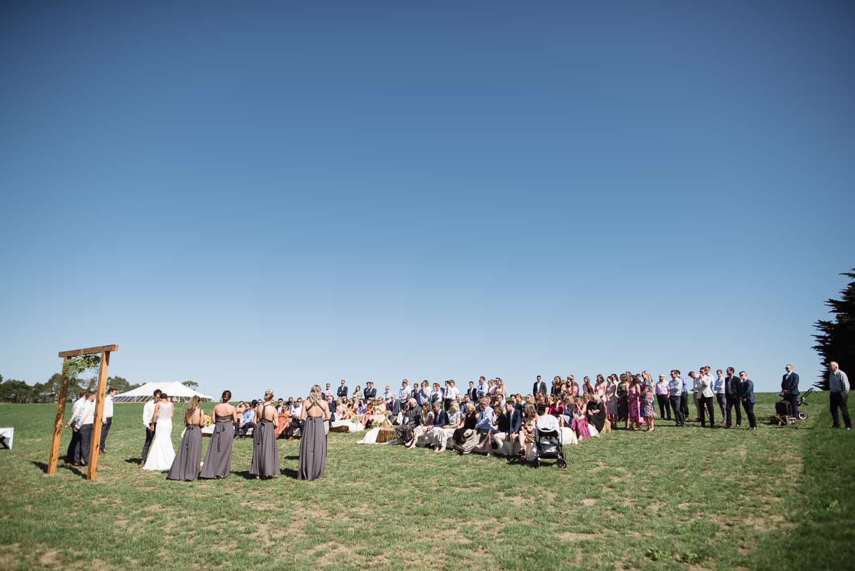 Wide shot of wedding in Scotts Creek