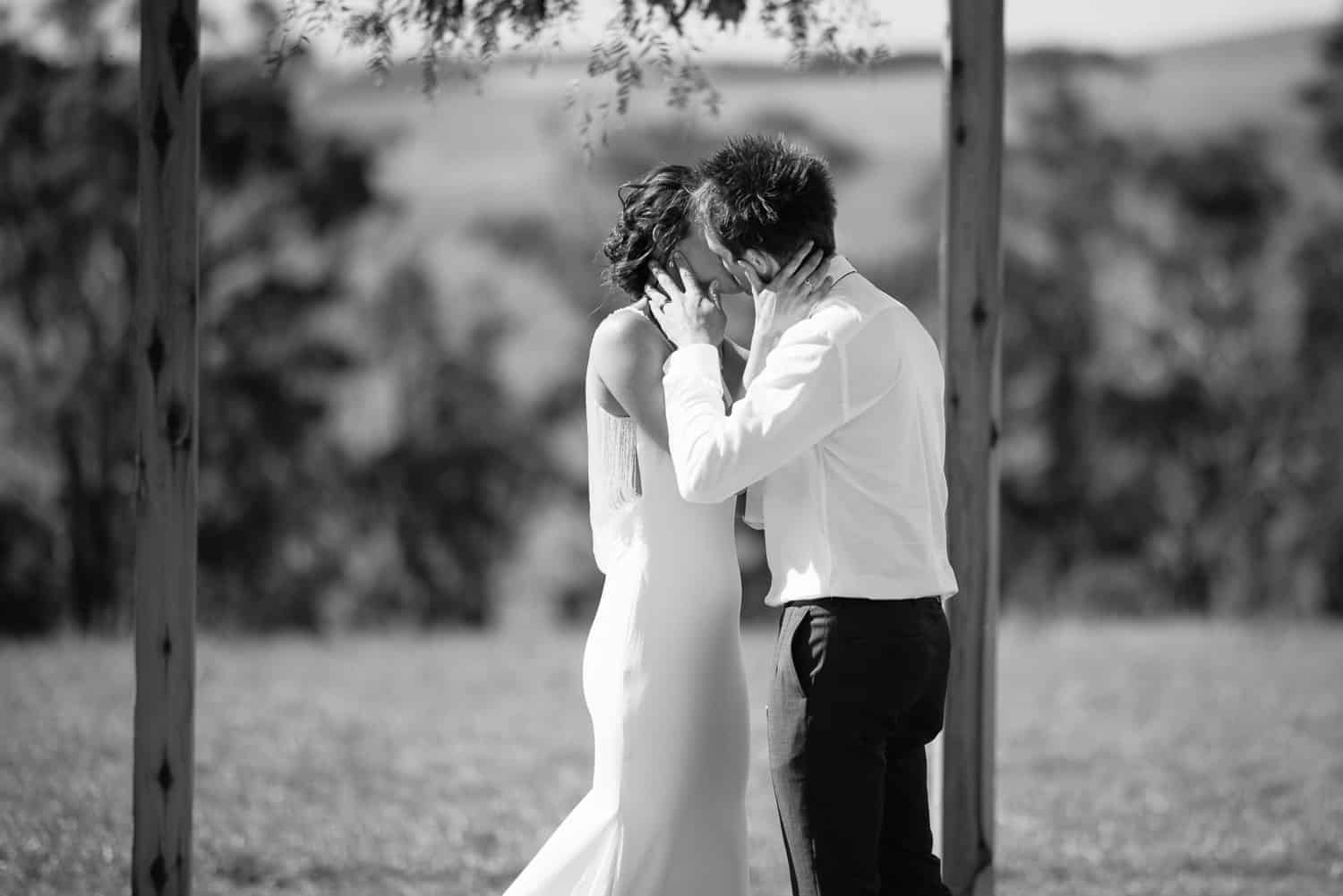 First kiss at a wedding in Scotts Creek