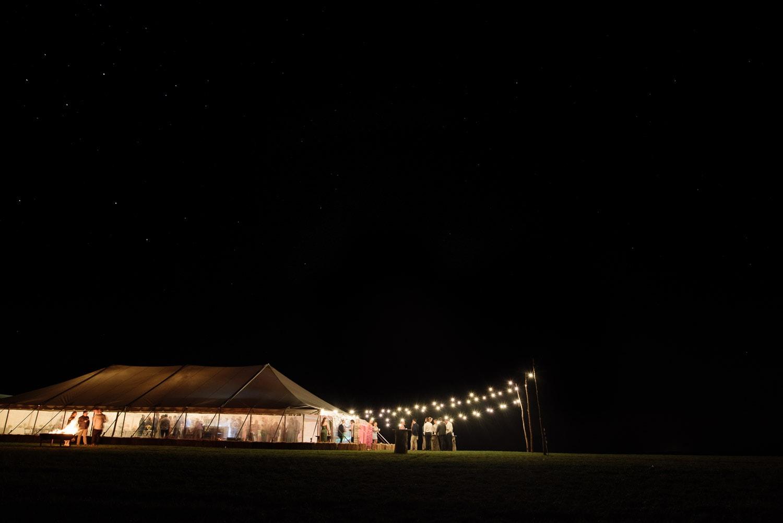 Rural Victorian wedding reception under the stars