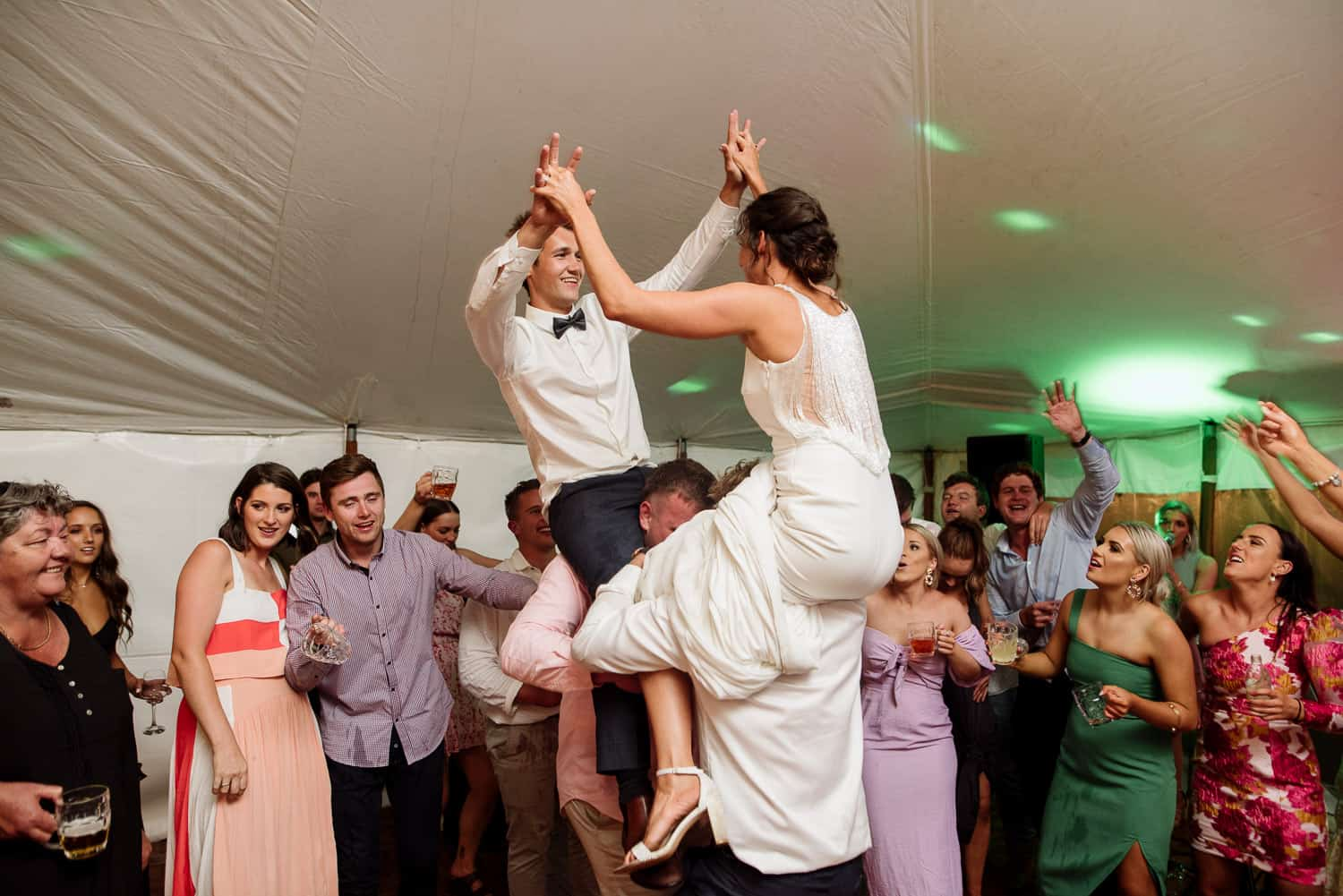 Bride and groom partying in Scotts Creek